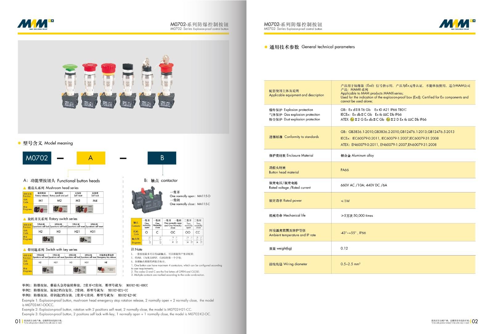 Explosion-proof Control Button MEC-0701